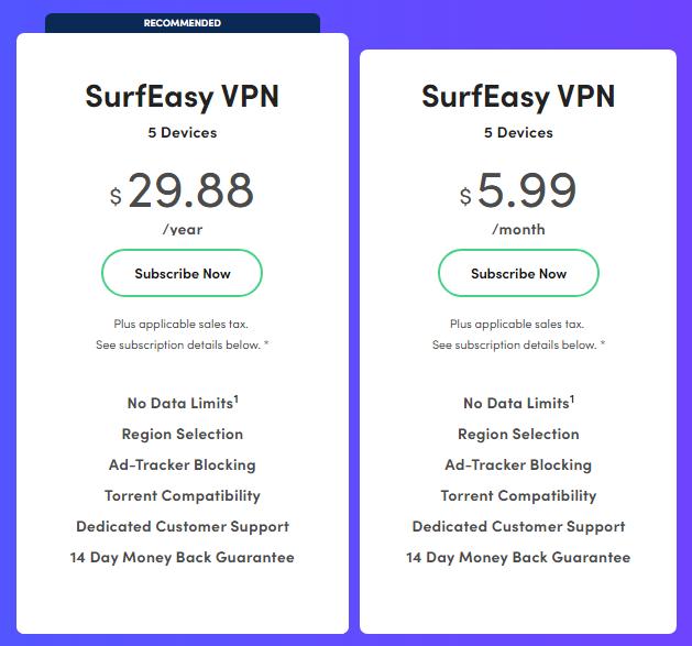 SurfEasy Pricing