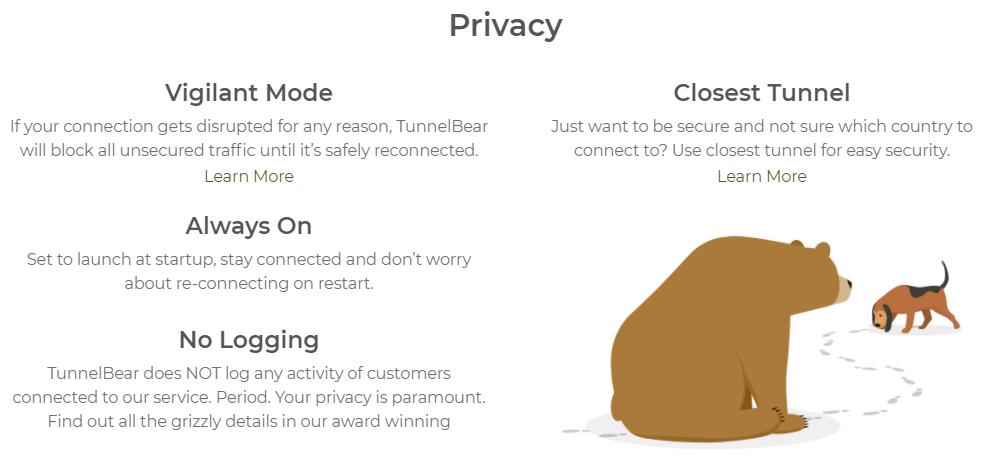 TunnelBear Features